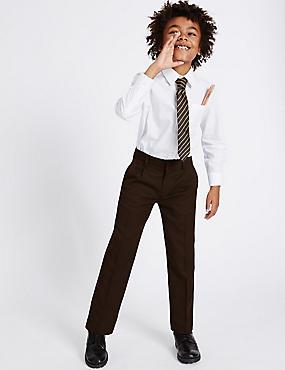 Boys' Regular Leg Trousers, BROWN, catlanding
