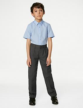 Boys' Regular Leg Trousers, GREY, catlanding