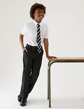 Boys' Regular Leg Trousers, CHARCOAL, catlanding