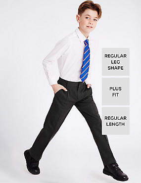 Boys' Plus Fit Pleat Front Adjustable Waist Supercrease™ Trousers with Stormwear™ & Crease Resistant, GREY, catlanding