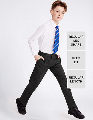Boys' Plus Front Pleat Adjustable Waist Supercrease™ Trousers with Stormwear™ & Crease Resistant, GREY, catlanding