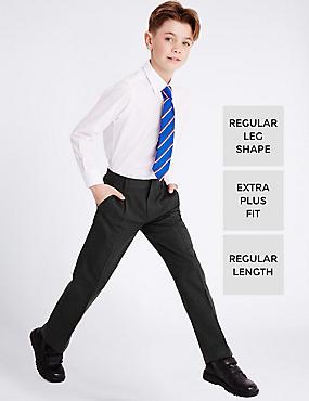 Boys' Regular Leg Extra Plus Fit Trousers, GREY, catlanding