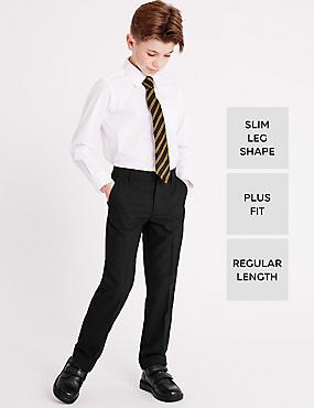 Boys' Plus Fit Crease Resistant Supercrease™ Slim Leg Trousers with Triple Action Stormwear™, BLACK, catlanding