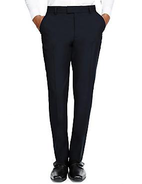 Senior Boys' Supercrease™ Slim Leg Trousers with Triple Action Stormwear™ & Adjustable Waist, NAVY, catlanding