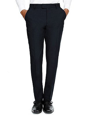Senior Boys' Supercrease™ Slim Leg Trousers with Triple Action Stormwear™ & Adjustable Waist, NAVY, catlanding