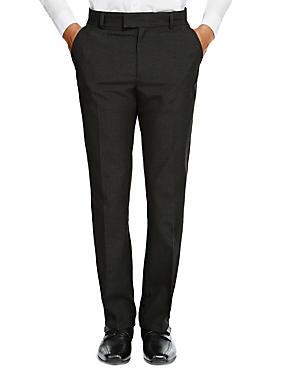 Senior Boys' Supercrease™ Slim Leg Trousers with Triple Action Stormwear™ & Adjustable Waist, CHARCOAL, catlanding
