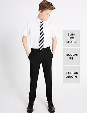 Senior Boys' Supercrease™ Slim Leg Trousers with Triple Action Stormwear™ & Adjustable Waist, BLACK, catlanding