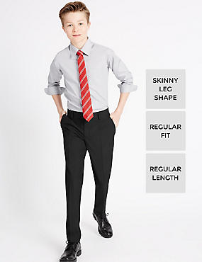 Boys' Skinny Leg Trousers with Supercrease™, BLACK, catlanding