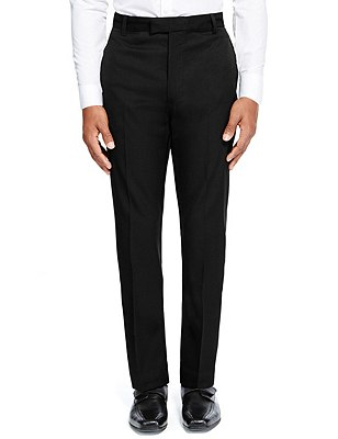 Senior Boys' Supercrease™ Wool Rich Slim Leg Trousers with Triple Action Stormwear™ & Adjustable Waist (Older Boys), BLACK, catlanding