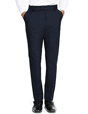 Senior Boys' Flat Front Skinny Adjustable Waist Trousers with Supercrease™ & Triple Action Stormwear™, NAVY, catlanding