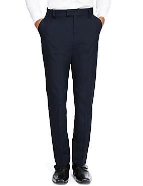 Senior Boys' Flat Front Skinny Adjustable Waist Trousers with Supercrease™ & Triple Action Stormwear™, NAVY, catlanding