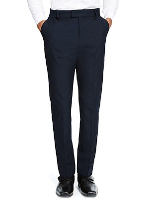 Senior Boys' Flat Front Skinny Adjustable Waist Trousers with Supercrease™ & Triple Action Stormwear™ (Older Boys), NAVY, catlanding
