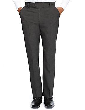 Senior Boys' Flat Front Skinny Adjustable Waist Trousers with Supercrease™ & Triple Action Stormwear™, GREY, catlanding