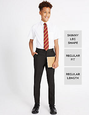 Senior Boys' Flat Front Skinny Adjustable Waist Trousers with Supercrease™ & Triple Action Stormwear™, CHARCOAL, catlanding