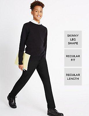 Senior Boys' Flat Front Skinny Leg Trousers, BLACK, catlanding