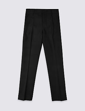 Senior Boys' Flat Front Skinny Adjustable Waist Trousers with Supercrease™ & Triple Action Stormwear™ (Older Boys)