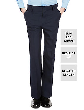 Supercrease™ Boys' Slim Leg Trousers with Triple Action Stormwear™, NAVY, catlanding