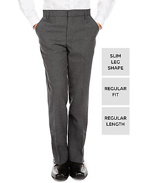 Boys' Slim Leg Trousers with Supercrease™, GREY, catlanding