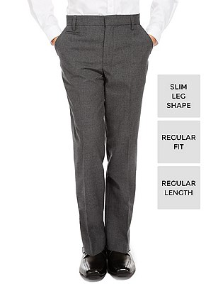 Supercrease™ Boys' Slim Leg Trousers with Triple Action Stormwear™, GREY, catlanding