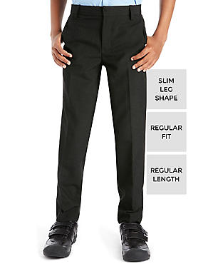 Boys' Slim Leg Trousers with Supercrease™, CHARCOAL, catlanding