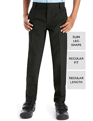 Supercrease™ Boys' Slim Leg Trousers with Triple Action Stormwear™, CHARCOAL, catlanding