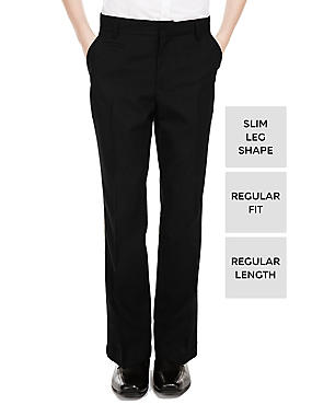 Boys' Slim Leg Trousers with Supercrease™, BLACK, catlanding