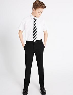 Senior Boys' Slim Leg Trousers, BLACK, catlanding