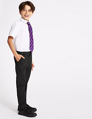 Boys' Skinny Leg Trousers with Supercrease™, CHARCOAL, catlanding
