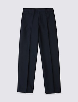 PLUS Boys' Slim Leg Trousers, NAVY, catlanding