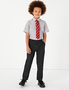 PLUS Boys' Slim Leg Trousers, BLACK, catlanding