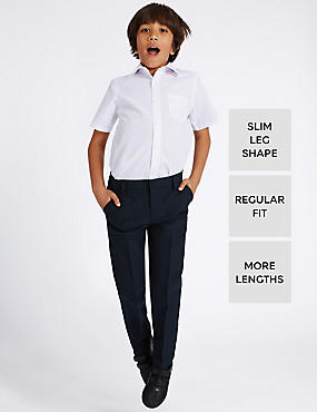 Boys' Slim Leg Trousers with Length Options, NAVY, catlanding