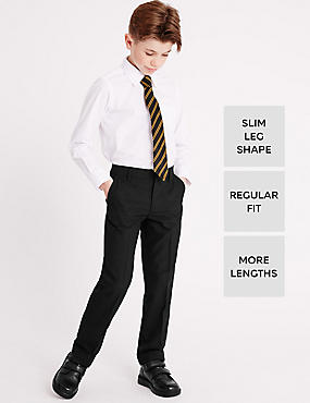 Boys' Slim Leg Trousers with Length Options, BLACK, catlanding