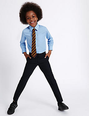 Boys' Slim Leg Trousers with Supercrease™, NAVY, catlanding