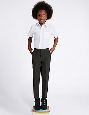 Boys' Slim Leg Slim Fit Trousers, GREY, catlanding