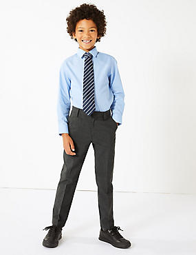 Boys' Skinny Leg Slim Fit Trousers, GREY, catlanding
