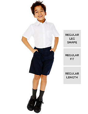 2 Pack Boys' Adjustable Waist Shorts with Stain Resistance™ & Triple Action Stormwear™, NAVY, catlanding