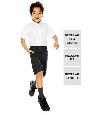 2 Pack Boys' Adjustable Waist Shorts with Stain Resistance™ & Triple Action Stormwear™, GREY, catlanding