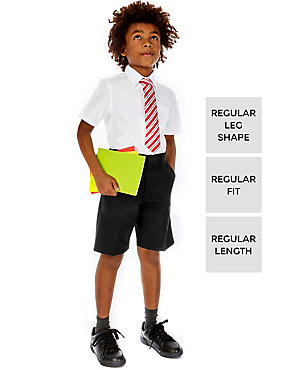 2 Pack Boys' Adjustable Waist Shorts with Stain Resistance™ & Triple Action Stormwear™, BLACK, catlanding