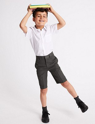 Boys' Pleat Front Adjustable Waist Shorts with Triple Action Stormwear™, GREY, catlanding