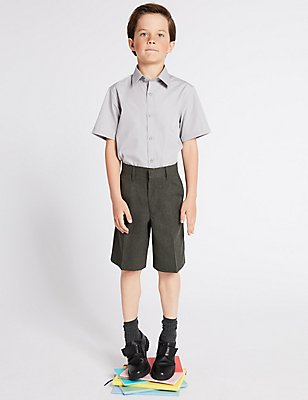 Boys' Regular Leg Pleat Front Shorts, GREY, catlanding