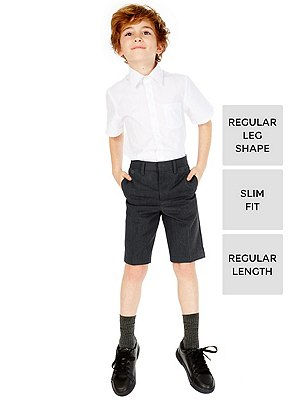 Boys' Crease Resistant Slim Fit Shorts with Triple Action Stormwear™, GREY, catlanding
