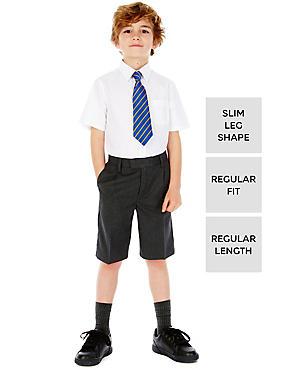 Boys' Slim Leg Pleat Front Shorts, GREY, catlanding