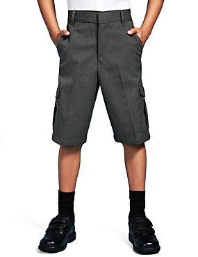 Boys' Crease Resistant Stain Resistance™ Cargo Shorts with Triple Action Stormwear™, GREY, catlanding