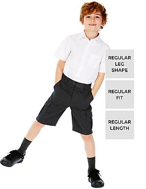 2 Pack Boys' Shorts with Crease Resistant, GREY, catlanding