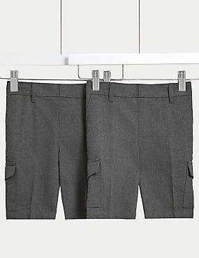 2 Pack Boys' Regular Leg Cargo Shorts, GREY, catlanding
