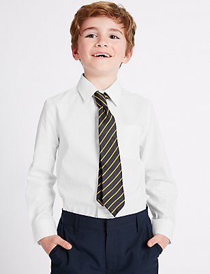2 Pack Boys' Easy to Iron Shirts, WHITE, catlanding