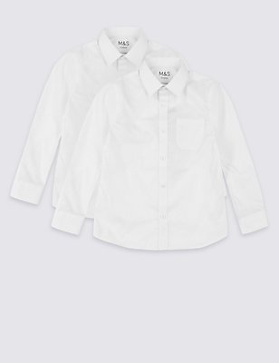 PLUS 2 Pack Boys' Ultimate Non-Iron Shirts, WHITE, catlanding