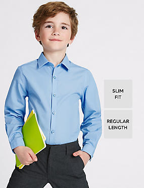 Set van 2 jongensoverhemden met lange mouwen, slanke pasvorm en Stain Away™, BLAUW, catlanding