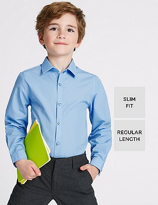 Slim Fit 2 Pack Boys' Long Sleeve Shirts with Stain Away™ (Older Boys), BLUE, catlanding