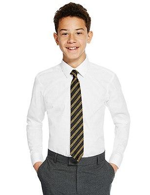 Slim Fit 2 Pack Senior Boys' Non-Iron Long Sleeve Shirts, WHITE, catlanding